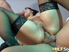MILF Chantel Ferrera sucks two hard cocks before anal and DP