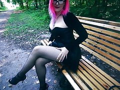 Goth girl in corset and heels risky public facial cum