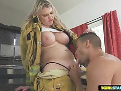 Aspen Brooks Hot Firefighter Barebacking Tgirl