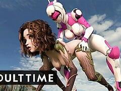 F.U.T.A. Sentai Squad - Giant Robotic Futanari Orgasm